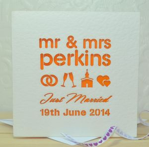 Personalised Mr And Mrs Laser Cut Wedding Card - summer sale