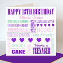 Personalised 13th Birthday Card