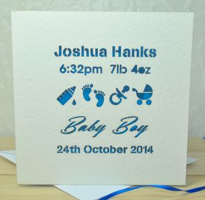 Personalised Laser Cut Baby Card - new baby cards