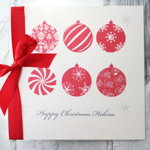 Personalised Bauble Christmas Card - cards