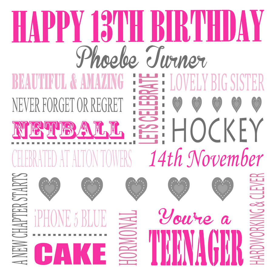 personalised age 13 birthday card by lisa marie designs – 13th Birthday Greetings