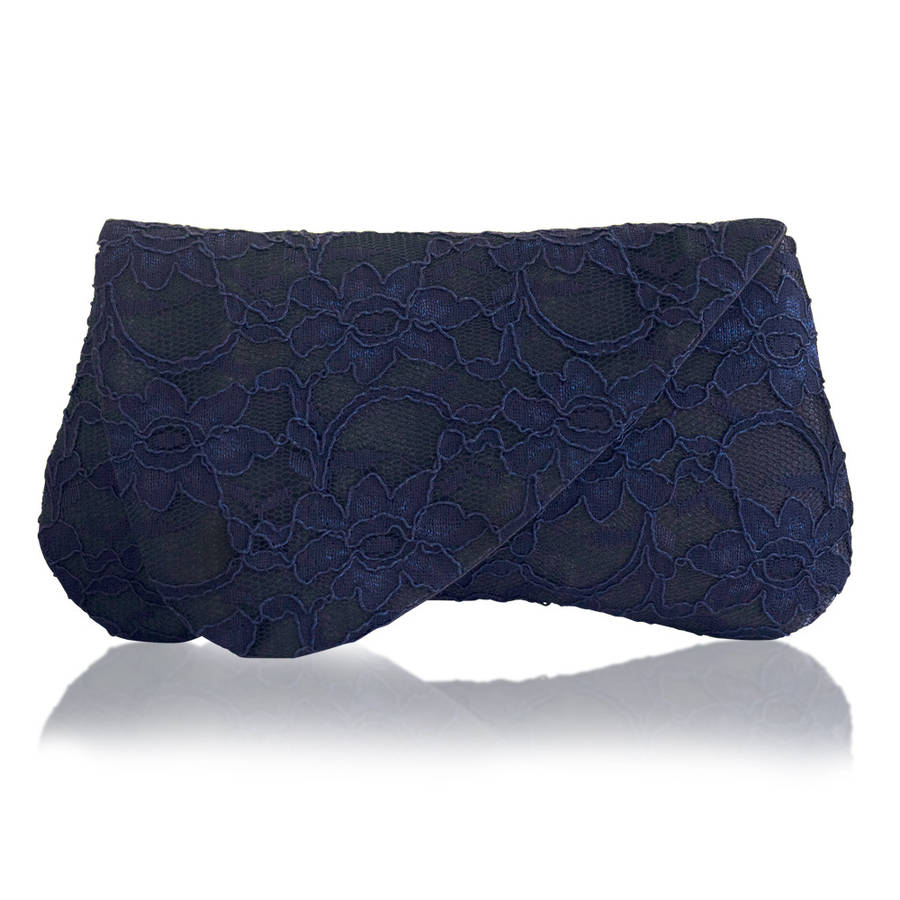 Arden Navy Lace Clutch