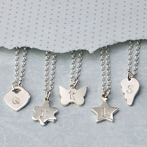 Girls Personalised Silver Charm With Initial Necklace