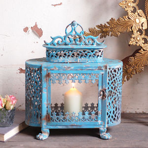 Antique Vintage Style French Blue Lantern