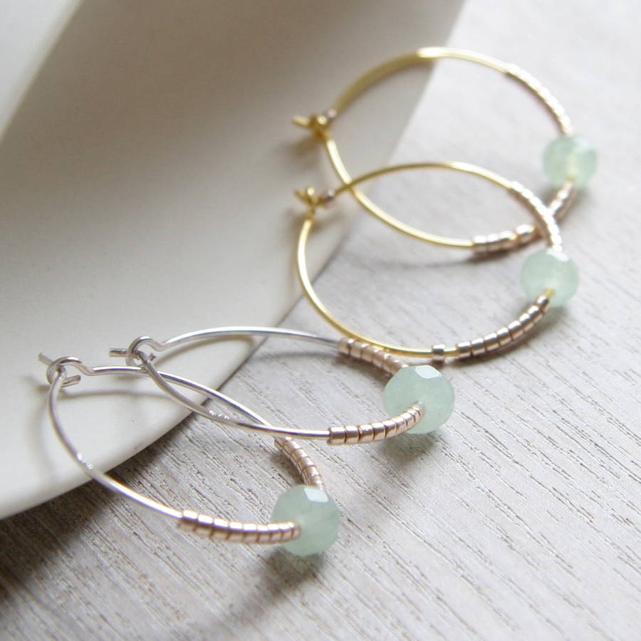 Green Jade And Pee Beads Hoop Earrings
