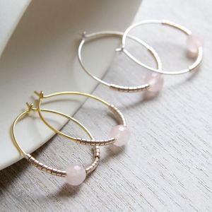 Faceted Rose Quartz And Petite Beads Hoops - earrings