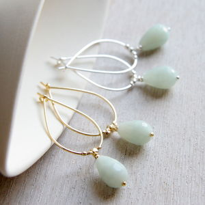 Amazonite And Gold Drop Shaped Earrings - women's jewellery