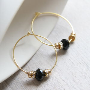 Gold Bead Hoops Elaborated With Swarovski Crystals