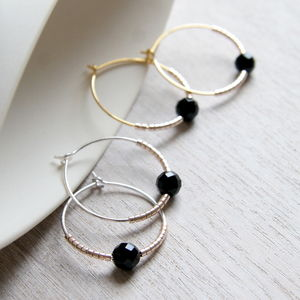 Faceted Onyx And Petite Bead Hoops