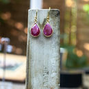 Ruby And Gold Teardrop Earrings