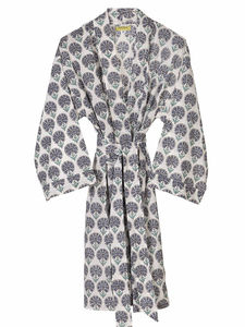 Multi Coloured Indian Carnation Print Bathrobe - more