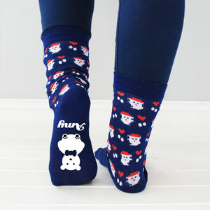 Personalised Christmas Polar Bear Socks - stocking fillers for her