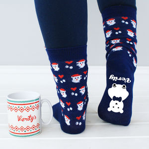 Personalised Christmas Socks And Mug - socks & tights