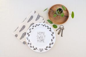 Home Sweet Home Hand Illustrated Porcelain Plate - new home gifts