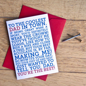 'Dad, You're The Best' Father's Day Card - birthday cards