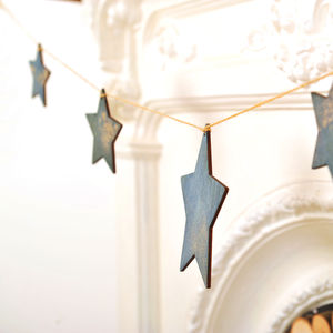 Handmade Wooden Star Bunting - baby's room