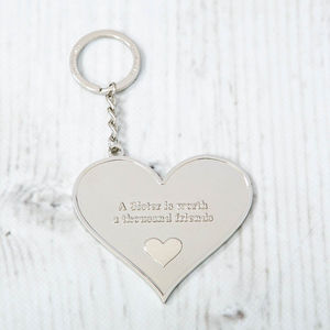 'A Sister Is Worth' Heart Message Keyring