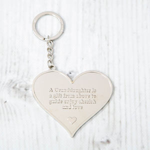 'A Granddaughter Is A Gift' Heart Message Keyring - keyrings