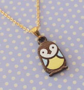 Little Wooden Penguin Necklace - christmas jewellery