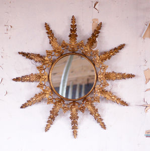Round Gold Brass Vintage Effect Sunburst Mirror - mirrors