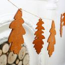 Wooden Oak Leaf Christmas Winter Bunting