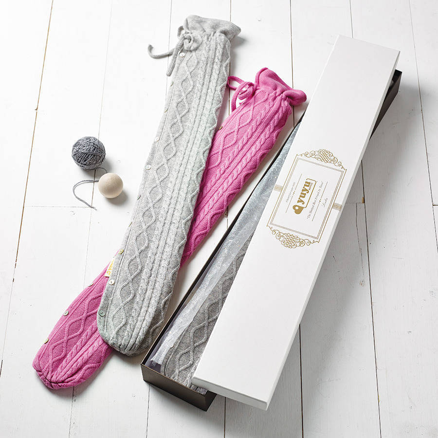 Cashmere Long Hot Water Bottle, Gift For Her And Him