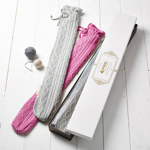 Cashmere Long Hot Water Bottle, Gift For Her And Him - hot water bottles & covers