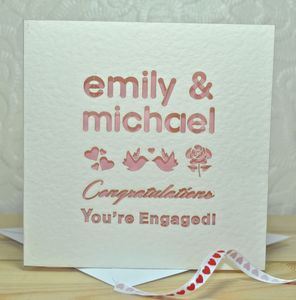 Personalised Laser Cut You're Engaged Card - wedding, engagement & anniversary cards