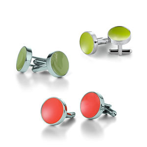 Concave Enamelled Cufflinks - mens