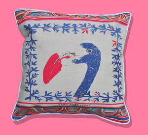 Linen Cushion With Aztec Trim Featuring Pink Flamingo - cushions