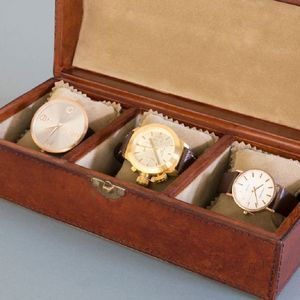 Personalised Leather Trio Watch Box - gifts for him