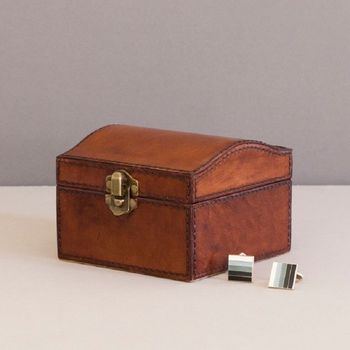 Personalised Leather Stud Box With Catch