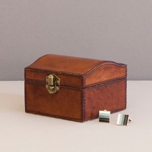 Personalised Curved Leather Stud Box - cufflink boxes & coin trays