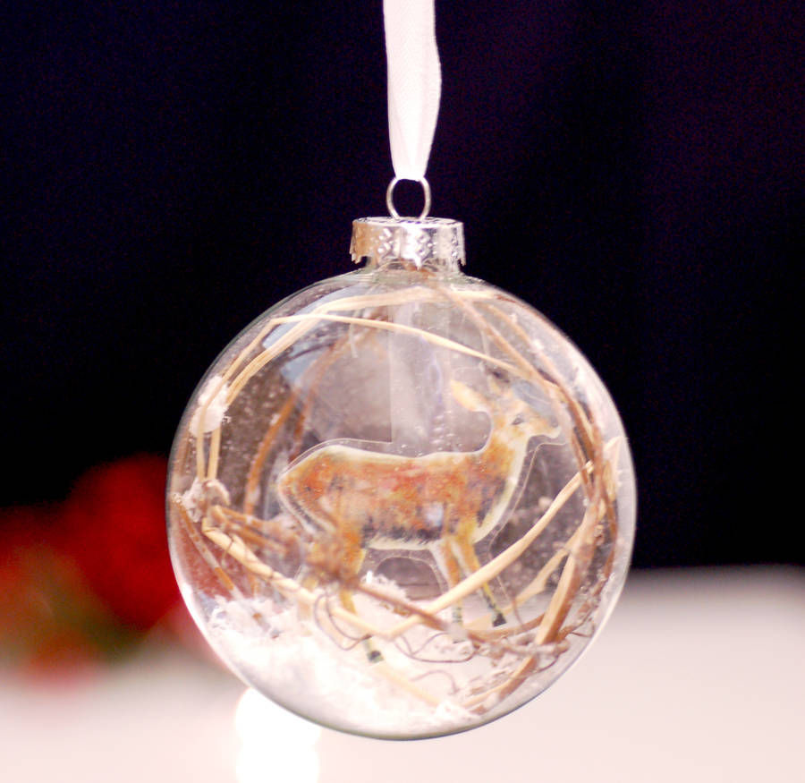 Deer glass hanging christmas tree bauble decoration by for Personalised christmas decorations