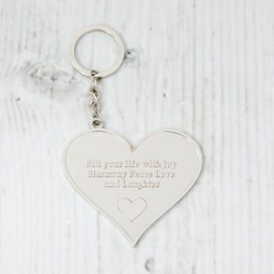 'Fill Your Life With Joy' Heart Message Keyring