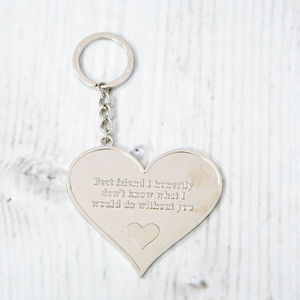 'Best Friend' Large Heart Message Keyring