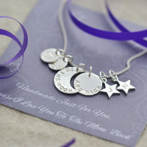 To The Moon And Back Sterling Silver Necklace - women's jewellery