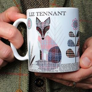 'Fox' Personalised Tweed Design Mug - dining room