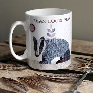 'Badger' Personalised Tweed Design Mug - dining room