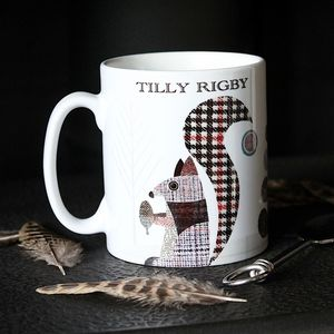 'Squirrel' Personalised Tweed Design Mug - dining room