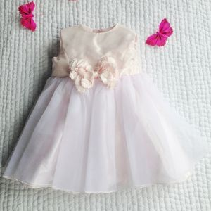 Rose Taffeta And Voile Dress