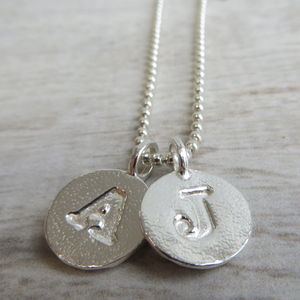 Silver Letter Charm And Ball Chain Necklace - necklaces