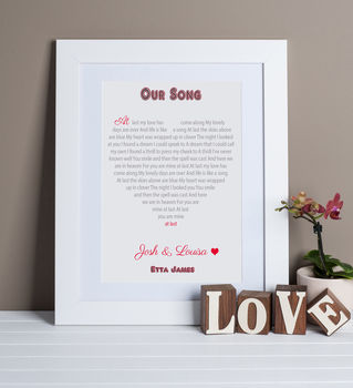 Song Lyrics Heart Print