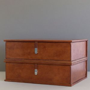 Personalised Leather Document Box File - stationery