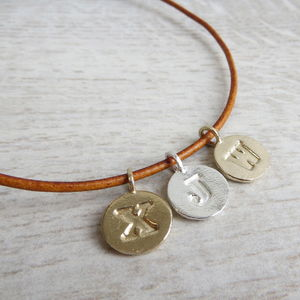 Letter Charm And Leather Cord Necklace