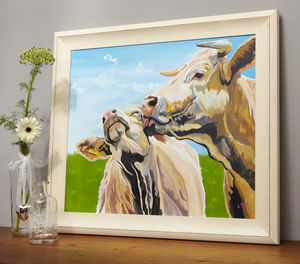 Cow Lick Original Acrylic Cow Painting