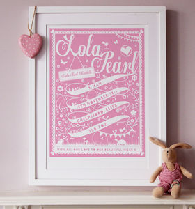 Personalised Ribbon New Baby Print - posters & prints for children