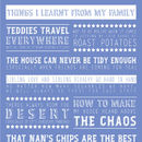 Personalised 'Things I Learnt From My Family' Print