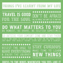 Personalised 'Things I've Learnt From My Life' Print