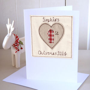 Personalised 1st Christmas Heart Card